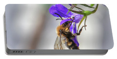 Bee On Purple Flower Portable Battery Charger by Patricia Hofmeester