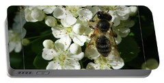 Bee On White Flowers 2 Portable Battery Charger