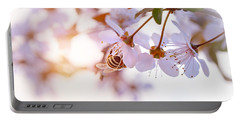 Bee Pollinates Spring Cherry Portable Battery Charger