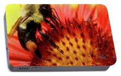 Portable Battery Charger featuring the photograph Bee Red Flower by Meta Gatschenberger