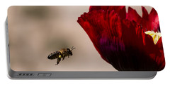 Bee Right Profile Flying To Red Flower Portable Battery Charger