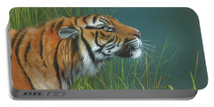 Portable Battery Charger featuring the painting Beggars Day by Mike Brown