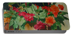Begonias Flowers Colorful Original Painting Portable Battery Charger