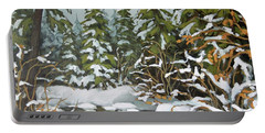 Portable Battery Charger featuring the painting Behind The River Bend by Inese Poga