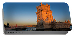 Belem Tower And The Moon Portable Battery Charger