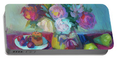 Portable Battery Charger featuring the painting Belgian Creamer And Sugar by Diane McClary