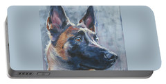 Belgian Malinois In Winter Portable Battery Charger