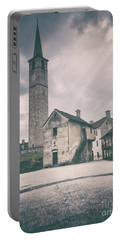 Portable Battery Charger featuring the photograph Bell Tower In Italian Village by Silvia Ganora