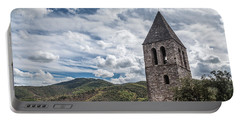 Bell Tower Of The Old Church, Olargues France Portable Battery Charger