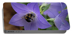 Portable Battery Charger featuring the photograph Bellflower And Bee  by Marie Hicks