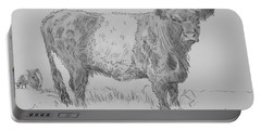 Belted Galloway Cow Pencil Drawing Portable Battery Charger