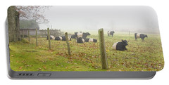 Belted Galloway Cows Farm Rockport Maine Photograph Portable Battery Charger by Keith Webber Jr