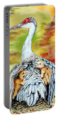 Portable Battery Charger featuring the painting Beneath My Wings by Maria Barry