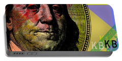 Portable Battery Charger featuring the digital art Benjamin Franklin - $100 Bill by Jean luc Comperat