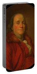 Portable Battery Charger featuring the painting Benjamin Franklin by Workshop Of Joseph Duplessis