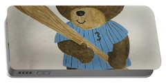 Portable Battery Charger featuring the painting Benny Bear Baseball by Tamir Barkan