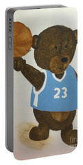 Portable Battery Charger featuring the painting Benny Bear Basketball  by Tamir Barkan