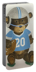 Portable Battery Charger featuring the painting Benny Bear Football by Tamir Barkan