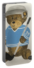 Portable Battery Charger featuring the painting Benny Bear Hockey by Tamir Barkan