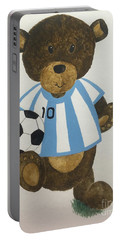 Portable Battery Charger featuring the painting Benny Bear Soccer by Tamir Barkan