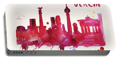 Berlin Skyline Watercolor Poster - Cityscape Painting Artwork Portable Battery Charger