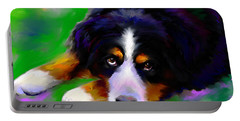Bernese Mountain Dog Portrait Print Portable Battery Charger