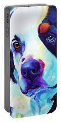 Bernese Mountain Dog - Zeke In Blue Portable Battery Charger