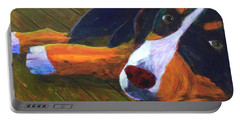 Bernese Mtn Dog On The Deck Portable Battery Charger by Donald J Ryker III