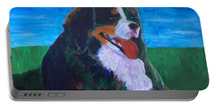 Portable Battery Charger featuring the painting Bernese Mtn Dog Resting On The Grass by Donald J Ryker III