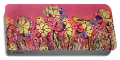 Berry Pink Flower Garden Portable Battery Charger