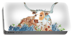 Bessie In The Bluebonnets Watercolor Painting By Kmcelwaine Portable Battery Charger