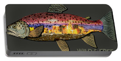 Portable Battery Charger featuring the digital art Fishing - Best Caught Wild-on Dark by Elaine Ossipov