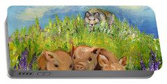 Portable Battery Charger featuring the painting Best Friends by Karen Ferrand Carroll