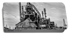 Bethlehem Pa Steel Plant  Side View In Black And White Portable Battery Charger by Bill Cannon