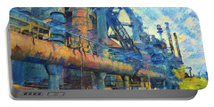 Bethlehem Steel Mill Watercolor Portable Battery Charger by Bill Cannon