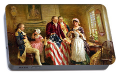 Betsy Ross And General George Washington Portable Battery Charger by War Is Hell Store