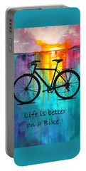 Portable Battery Charger featuring the mixed media Better On A Bike by Nancy Merkle