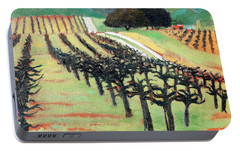 Portable Battery Charger featuring the painting Between Crops by Gary Coleman