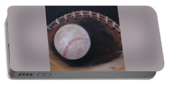 Portable Battery Charger featuring the painting Between Innings by Judith Rhue