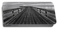 Bevan Fishing Pier - Black And White Portable Battery Charger
