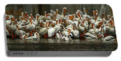 Bevy Of White Pelicans Portable Battery Charger by Tom Claud