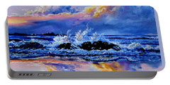 Portable Battery Charger featuring the painting Beyond The Rocks by Hanne Lore Koehler