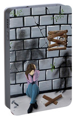 Portable Battery Charger featuring the painting Beyond The Wall by Teresa Wing