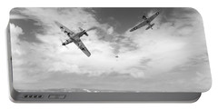 Portable Battery Charger featuring the photograph Bf109 Down In The Channel Bw Version by Gary Eason