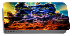 Portable Battery Charger featuring the photograph Biblical Electrified Cumulus Clouds Skyscape - Psalm 19 1 by Shelley Neff