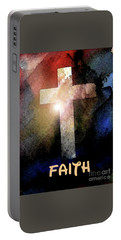 Portable Battery Charger featuring the painting Biblical-faith by Terry Banderas