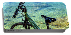 Bicycle By The Adriatic, Rovinj, Istria, Croatia Portable Battery Charger