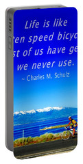 Bicycle Charles M Schulz Quote Portable Battery Charger