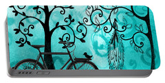 Bicycle In Whimsical Forest Portable Battery Charger
