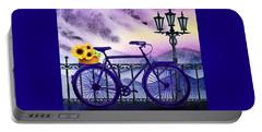 Portable Battery Charger featuring the painting Blue Bicycle And Sunflowers By Irina Sztukowski  by Irina Sztukowski